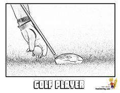 Are you in a hurry for striking Golf Coloring sheets? Free golf printables and sports coloring of golf drivers, tees, shoes, golf player legends like Jones, Nicklaus, Palmer... This is your golf coloring page of an iron and ball and tee.