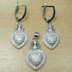 Micro Setting White CZ 925 Sterling Silver Heart Crown Jewelry Set