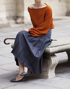 Love the neckline and the color combo  the sartorialist
