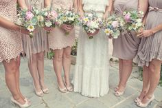 boho bridesmaid dresses, so cute!