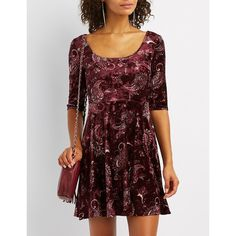 Charlotte Russe Printed Velvet Skater Dress ($27) ❤ liked on Polyvore featuring dresses, multi, charlotte russe dresses, 3/4 sleeve dress, red dresses, a line dress and red empire waist dress