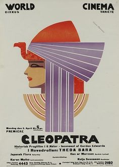 """Sven Brasch: poster, Theda Bara in """"Cleopatra"""" Art Deco Posters, Cool Posters, Vintage Posters, Movie Posters, Travel Posters, Art Nouveau, Beautiful Posters, Egyptian Art, Advertising Poster"""