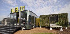 Hub 01 – Mobile Student Housing Terminal in Kortrijk / dmvA Architecten + Architects, photo © Mick Couwenbergh Architecture Student, Architecture Design, Mobile Architecture, University Architecture, Cultural Architecture, Architecture Office, Sustainable Architecture, Sustainable Design, Sustainable Living