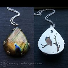 Owl on Branch and Crescent Moon Labradorite Pendant - Handcut sterling silver and labradorite - Spirit Animal Series