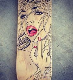 Only Skating posts amazing ink drawing on a skateboard.
