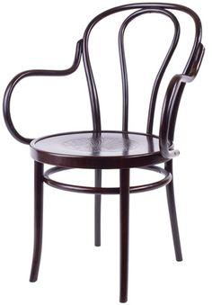 Clásica B-18  Clásica silla con brazos, en madera de haya y patas torneadas. Asiento en junco o tapizado opcionalmente. Terminación lacada con poliuretano para alto tráfico.  Producto importado desde Europa.
