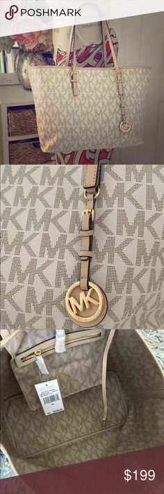 """Michael Kors Vanilla Jet Set Travel Tote NWT $248 MICHAEL KORS JET SET TRAVEL VANILLA MK SIGNATURE MD TOTE PURSE NWT   Style: Jet Set Travel   Color: Vanilla   New with tag   Material: PVC Body & Leather Trims/Handles  Hardware: Gold tone   This is a large size tote   Approximately measurement:   14"""" (Base) 17.5"""" (Top) (Length) x 12.25"""" (Height) x 6.5"""" (Depth)   Tan leather handles: 9"""" Drop length (adjustable)   Signature Michael Kors logo/hangtag on the front   Clasp closure   Interior has…"""