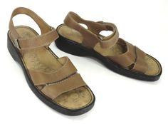 Walking Cradles 8.5 Brown Leather Velcro Ankle Strap Wedge Sandals 69963 #WalkingCradles #AnkleStrap #Casual