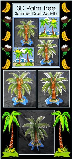 3D Palm Tree Craft Activity : This palm tree art project is a unique seasonal craft which also serves as classroom decor. Students can select from three different designs including a normal palm tree or a palm tree with a banana or coconut bearing monkey. This three dimensional craft can be displayed as back-to-school student desk decorations for open house or as window sill embellishments to perk up your little jungle. It also makes a great keepsake!
