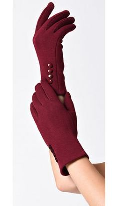 Red Wrist Length Buttons Texting Gloves