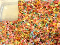 Rice Crispy Treats made with Fruity Pebbles instead.  So delicious!!!