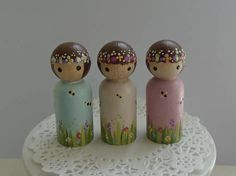 Hand Painted Wooden Peg Doll Garden Theme