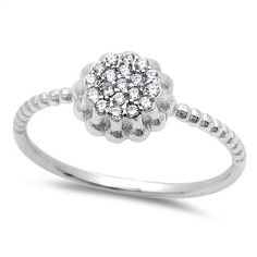 New Gift Micro Pave Cubic Zirconia  .925 Sterling Silver Ring Sizes 4-9