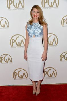 Producers Guild Awards 2014 Red Carpet: Claire Danes chose a Christian Dior dress featuring an ice blue bodice and white midi-length pencil skirt.
