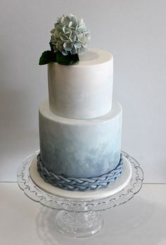 Color Inspiration: Slate and Dusty Blue Wedding Ideas - wedding cake idea; Faye Cahill Cake Design