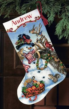 Snowman gathering stocking, cross stitch kit.