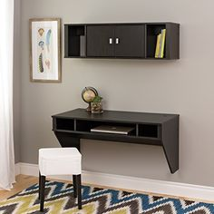 Prepac Designer Floating Desk and Hutch Set in Washed Black ** You can find more details by visiting the image link.Note:It is affiliate link to Amazon.