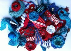 Blue & Red Trimmings Arts And Crafts Projects, Crochet Motif, 4th Of July Wreath, Embellishments, Tassels, Wax, Blue, Vintage, Beautiful
