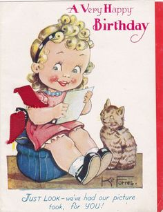 Little Girl With Blonde Ringlets - Grey Tabby Cat - Vintage Card - Kit Forres