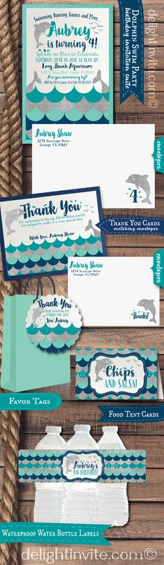 "This darling Dolphin theme birthday party set is perfect if you are planning a swim party or an aquarium theme birthday! Expertly printed on shimmer paper and artfully hand-mounted on metallic aqua blue card stock, these dolphin invitations are stunning in person! The silver glitter elements with the aqua and navy blue color scheme, will make this dolphin inspired party set a HUGE SPASH at your upcoming ""Under the Sea"" celebration! Check out the matching items too!"