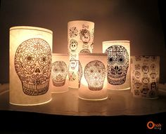 DIY Halloween decorations Also try iron on decals onto lamp shade Holidays Halloween, Halloween Crafts, Holiday Crafts, Halloween Party, Halloween Decorations, Mexican Decorations, Altar Decorations, Halloween 2017, Holiday Decor