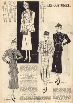 1937 women wore suit with skirt. I pinned it because i like their suits