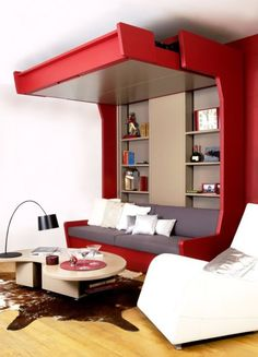 Sofa to bed with shelving.  This has integrated bookcases beside the counter weight system/column.