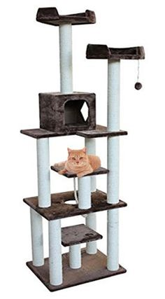 Big Scratching Cat Tower Kitty Tree Playground, Mocha