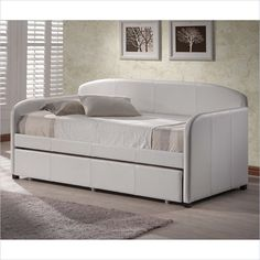 Hillsdale Springfield Daybed with Trundle in White Faux Leather