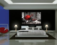 1 White gloss platform bed black contemporary bedroom low bedsides