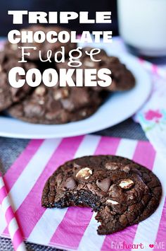 Omg all the chocolate. Triple Chocolate Fudge Cookies ~ intense chocolate flavor with chewy, gooey centers and two types of chocolate chips Homemade Chocolate Pudding, Triple Chocolate Cookies, Healthy Chocolate, Chocolate Flavors, Chocolate Chips, Chocolate Tarts, Köstliche Desserts, Delicious Desserts, Dessert Recipes