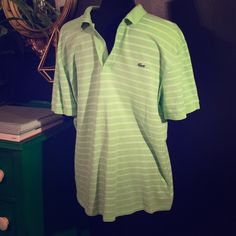 Mens Lacoste Classic Pique Polo Lime/White Great condition, men's Lacoste Classic Pique Polo. Lime green & white striped, size 5 which is a men's L. Bundle with the other 3, my bundle deal can't be beat! One last critical thing, my Lacoste shirts have NEVER seen the inside of a dryer so they all fit just like the day I bought them. Very important detail when buying preowned Lacoste! Lacoste Tops Tees - Short Sleeve