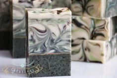 Handmade in Florida: Moroccan Mint Tea  Great colors - love the gold mica line and the bottom solid soap with the tea leaves.