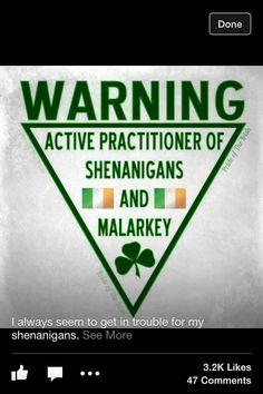 Irish Warning Label: Active practioners of Shenanigans and Malarkey!