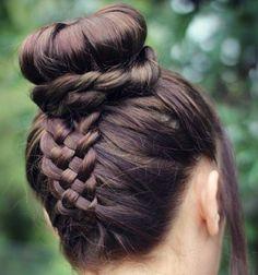 5 strand braid into bun updo.