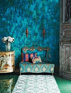 India was very known of its bright colours and patterns and has been for the last two thousand years. Here is an example of an interior in India in this century and how the colour and patterns are reflected in each fabric that is used.