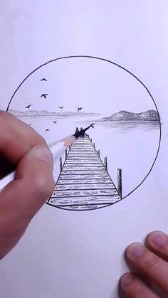 Music Drawings, Art Drawings For Kids, Art Drawings Sketches Simple, 3d Art Drawing, Cool Simple Drawings, Simple Pencil Drawings, Easy Nature Drawings, Easy Drawings, Abstract Pencil Drawings