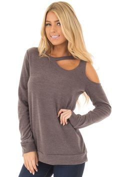 Lime Lush Boutique - Mocha Long Sleeve Top with Cut Out Neck and Shoulder Detail, $39.99 (https://www.limelush.com/mocha-long-sleeve-top-with-cut-out-neck-and-shoulder-detail/)