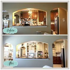 DIY Kitchen Makeover luv the lighter look...paint & cabinet uppers