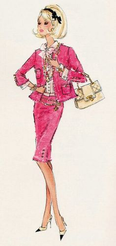 Fashion illustrations - Preppy Pink Chanel suit.