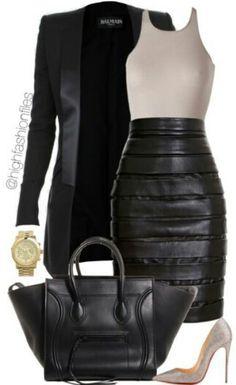 black pencil skirt + beige top + nude pumps + black blazer