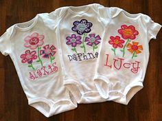 Personalized Flower Onesie or Tshirt by tresbienboutique on Etsy, $17.00