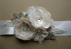 Rustic Bridal sash wedding belt, Vintage floral, Champagne Beige Ivory Tan Creamy Nude Caramel, antiqued shabby chic rhinestone accessory
