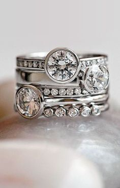 A super sweet way to add stacked wedding rings to your collection over the years is with the birth of a child or a big anniversary. Description from womangettingmarried.com. I searched for this on bing.com/images