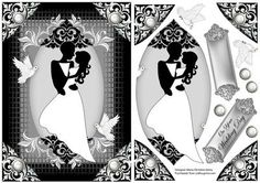 Bride and Groom 6x8 B W on Craftsuprint designed by Maria Christina Vieira  - Wedding Card front 6x8,A Black and White Wedding quick card approx.6x8,Comes with two labels, one a blank and one with text-(On Your Wedding Day), and some decoupage pieces. - Now available for download!