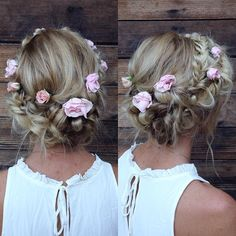 More views of my favorite hairstyle everrrrr on @emmmbo this weekend at #wetheryans2015 wedding! She didn't want milkmaid braids where the hair in the back of the head is split in half and empty. So I merged a braided updo in the back with overlapping crown braids in the front. This hairstyle wouldn't be the same without those dainty flowers!