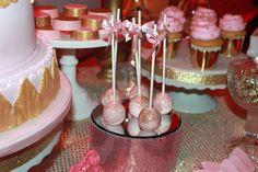Sparkly cake pops at a Baby Shower #babyshower #cakepops