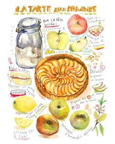 French apple tart illustrated recipe art print. Pumpkin soup illustrated recipe watercolor painting by Etsy artist 'Lucile's Kitchen'. Typographically too complex. ie: needs to be more SIMPLE for little kids to follow. Illustrative style is very unlike mine but idea of an instructional poster is very inspiring ie: combines many of my loves. I could push my illustrative style with a series of these by incorporating character design. (viewed 11/8)