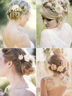 Romantic Wedding Hairstyles Using Flowers Bridal Musings Romantic Wedding Hair, Cute Wedding Dress, Fall Wedding Dresses, Colored Wedding Dresses, Wedding Hair And Makeup, Wedding Updo, Wedding Beauty, Perfect Wedding, Bridal Hair