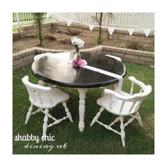 Refinished this oak dining set into a piece of shabby chic decor!!  Annie sloan chalk paint.. Old white!